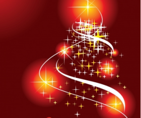 Christmas tree abstract with red background vector