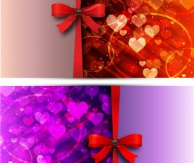 Red bow love cards vector set