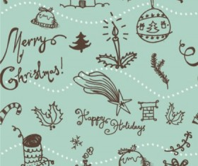 Hand drawn Christmas pattern seamless vector