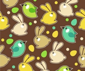 Cute rabbits with birds seamless pattern vector