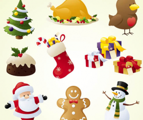 Cute Christmas Icons set vector
