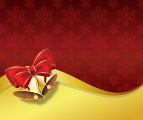 Christmas bell with ornate background vector