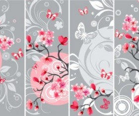 Elegant Japanese Cherry banners vector