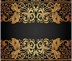 Gold floral borders graphic vector design