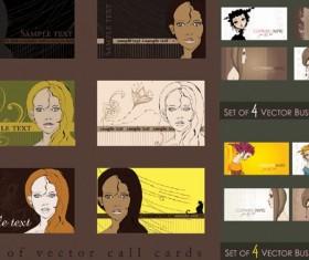 Female cartoon Portrait card vector