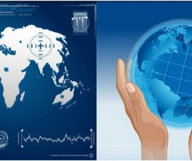 World map with hand backgrounds vector