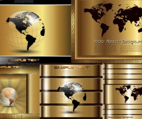 Golden technology background with maps vector