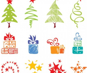 Christmas tree with gift box and stars element vector