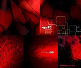Red dynamic space background set vector