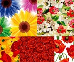 Fashion hand-painted flowers background vector material