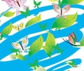 butterfly and leaves vector