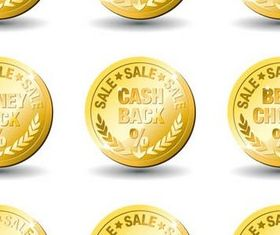 Gold Discount Labels art vector graphics