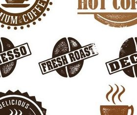 Grunge Coffee Labels vectors graphic