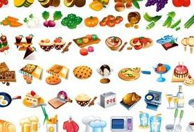 Food and utensils vectors material