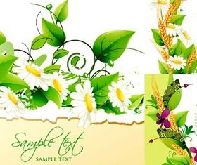 Flowers with green background vector