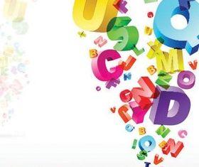 Color stereoscopic Alphabet background design vector