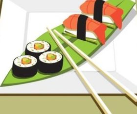 Delicious sushi vector graphic