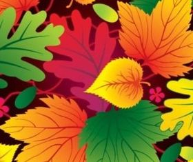 Different colorful leaves vector material