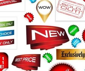 Discount Web Elements with Sticker vector design