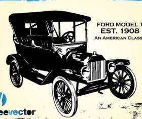 Vintage Ford Car creative vector
