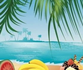 fruit and beach scenery vector