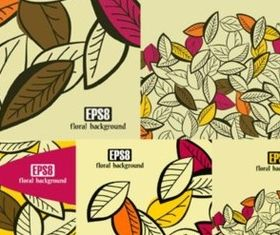 Different hand-painted leaves background vector design