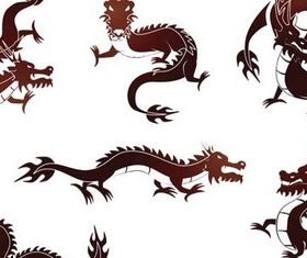Vivid Dragon Tattoo elements vector
