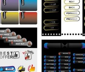 Different Web button Elements design vector