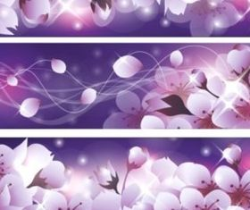 Romantic cherry blossoms banner background vector