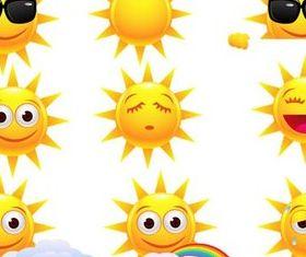 Shiny Cartoon Suns vector