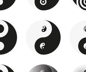 Yin and Yang logos vector graphics