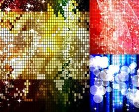Starry mosaic background set vector