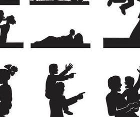 Family People Silhouette vector