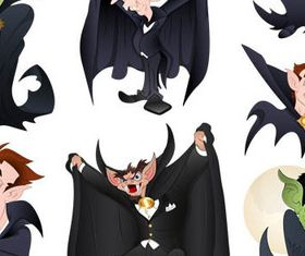 Scary Cartoon Characters vector set