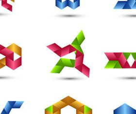 Colored Ribbon logos design vectors