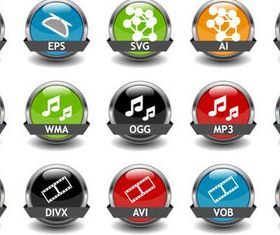 File Format Icons mix vector graphics