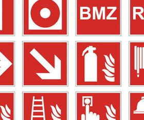 Red Danger Symbols mix vectors material