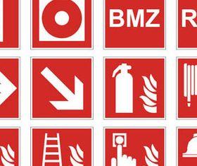 Red Danger Symbols mix vectors material