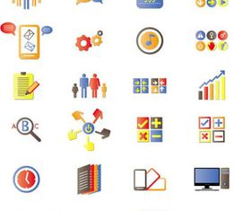 Colored Business Icons vector