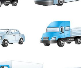 Different Buses and trucks design 1 creative vector