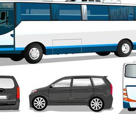 Different Buses and trucks design 2 creative vector