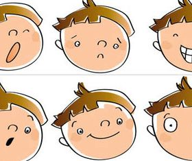 Cartoon Emotions Faces set vector