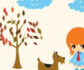 Dog Walking Girl shiny vector