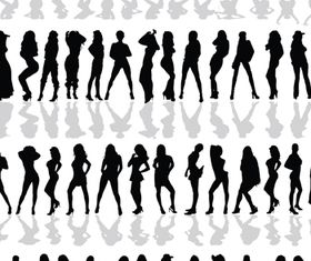 People silhouette 2 vectors