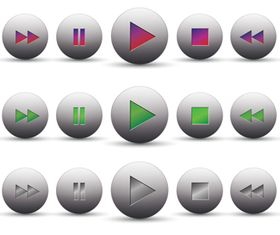MediPlayer Buttons icons 2 vectors graphic