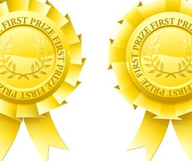 Gold Award Badges set 1 vector