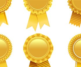 Gold Award Badges set 2 vector set