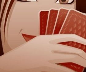 Playing cards and women vector graphics