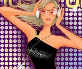 Musical dynamic fashion girl design vectors