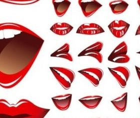 Red lips and teeth vector graphics
